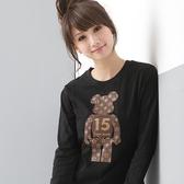棉T--魅力15號燙金小熊圓領長袖棉T(黑.粉S-XL)-T19眼圈熊中大尺碼◎