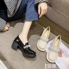 皮鞋 復古粗跟學生瑪麗珍鞋女百搭日系小皮鞋水晶漆皮高跟大頭娃娃單鞋 【99免運】