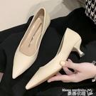中跟鞋 2021春季新款尖頭中跟細跟單鞋女軟皮淺口高跟鞋百搭職業工作鞋子【618 購物】衣櫃