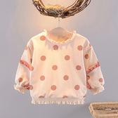 女寶寶秋裝長袖衛衣T恤0-1-2-3歲小女童裝圓點打底衫嬰兒衣服上衣