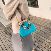 法國小眾小包包新款潮果凍超火斜背包包女包夏質感錬條單肩包  【全館免運】