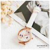 Catworld 蝴蝶水鑽錶面皮質手錶【18003159】‧F