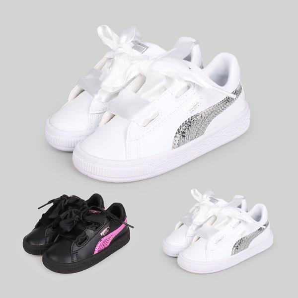 PUMA Basket Heart Bling Inf 女兒童休閒運動鞋(緞帶 慢跑≡體院≡ 366849