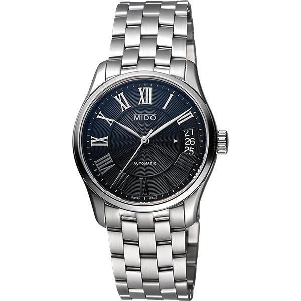 MIDO Belluna II Lady 羅馬機械女錶-黑x銀/33mm M0242071105300