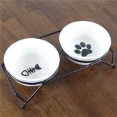 寵物餐桌 卡通陶瓷碗雙碗 碗和鐵絲碗架可分離 貓碗狗碗食碗盆【快速出貨】