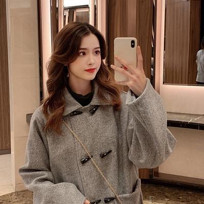 韓版外套XL-4XL 大碼女裝胖mm200斤毛呢外套牛角扣顯瘦呢子大衣2F133 依品國際
