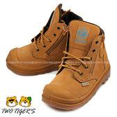 法國 Palladium Waterproof 土黃色 皮革 防水短靴 寶寶鞋 NO.R2233
