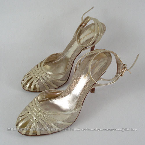 茱麗葉精品 二手名牌 【8.8成新】CBG MAX AZRIA 時尚網狀高跟涼鞋.金