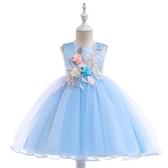 女童氣質連身裙夏兒童生日禮服3-10歲小女孩藍色婚紗花童公主裙子