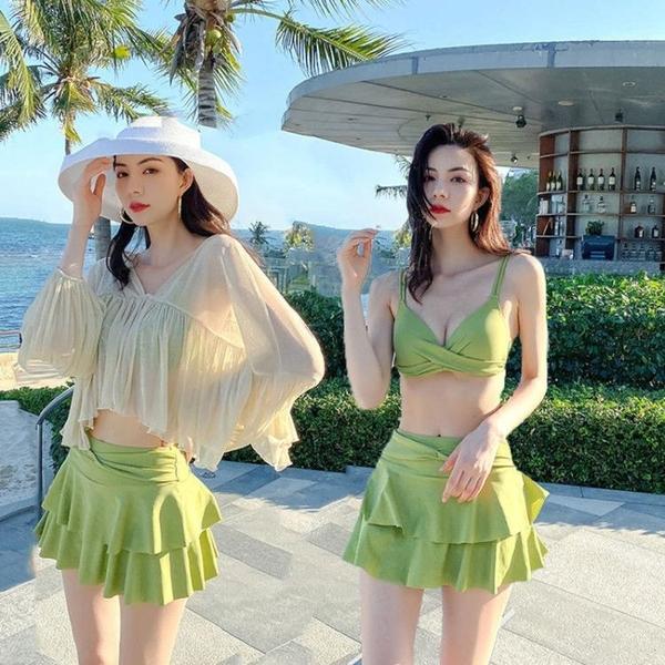 游泳衣女性感遮肚顯瘦分體ins超仙三件套學生韓版保守比基尼泳裝 快速出貨