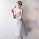 夏季伴娘服 2020新款灰色 伴娘團 禮服 姐妹 裙 修身晚禮服女派對小禮服  降價兩天