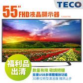福利品 TECO東元 55吋4K UHD低藍光四核心安卓連網平面 液晶電視 顯示器+視訊卡 TL55U1TRE