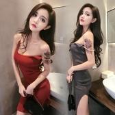 夜店女裝 性感 大尺碼 夏裝修身肩帶鍊條U領 開叉中長針織包臀洋裝