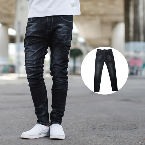 牛仔褲 白色車線立體刷白大彈力合身牛仔褲【NB0608J】