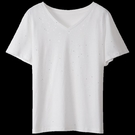 短袖T恤女 2021年春季新款V領短袖t恤女純棉寬松大碼胖MM黑色上衣亮片體恤潮【寶貝 新品】 618狂歡