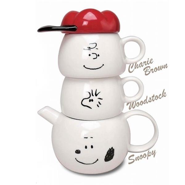 【南紡購物中心】日本MARIMO CRAFT史努比陶瓷泡茶壼茶杯組Tea for two史奴比水壼SNOOPY水杯子SPY-386