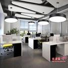 吊燈 簡約現代led創意空心圓形吊燈餐廳燈具辦公室工程照明網吧工作室T 1色