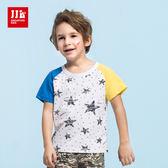 JJLKIDS 男童 撞色拼接袖子星星圓點短袖上衣 T恤(黃色)