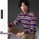 【大盤大】(P27512) 男 橫條紋POLO衫 長袖上衣 台灣製 MIT 口袋 有領休閒衫 寬鬆【2XL號斷貨】