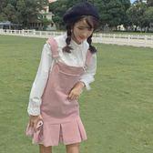 夏裝女裝日系軟妹荷葉邊娃娃背帶裙寬鬆百搭純色學生無袖連身裙子