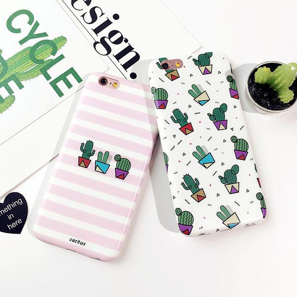 【SZ】iPhone 7/8 韓國仙人掌 手機殼 簡約條紋 白底 矽膠軟殼 iphone 6/6s/6s plus iPhone 7/8 plus 保護套