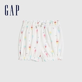 Gap嬰兒 可愛純棉印花花苞褲 681776-白色