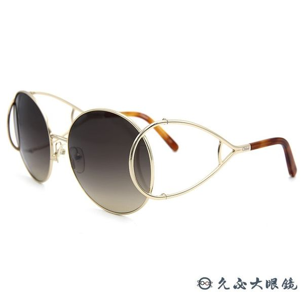 Chloe 墨鏡 CE124S 736 (金-透棕) 簍空金屬 復古圓框 太陽眼鏡 久必大眼鏡