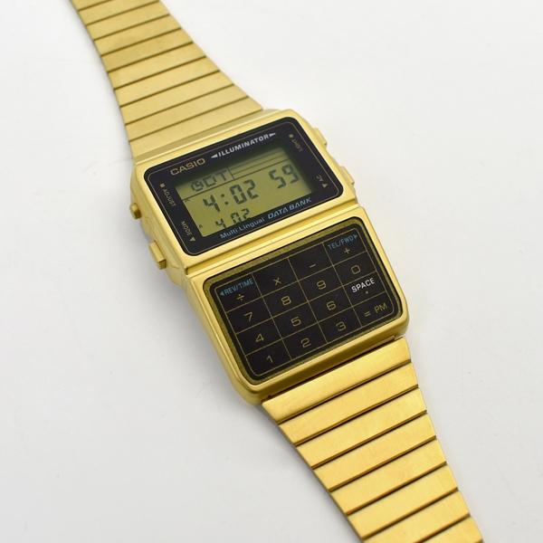 CASIO手錶 金色復古計算機電子錶NECE40