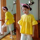 女童中袖上衣雪紡喇叭袖娃娃衫兒童大童半袖