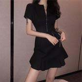 赫本風小黑裙夜店心機性感V領連身裙2019新款夏修身氣質顯瘦裙子