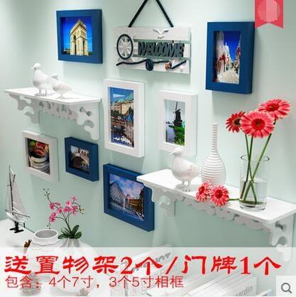 歐式實木照片牆組合客廳掛牆相框地中海相片牆置物架