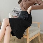 包臀裙OL半身裙S-3XL2130蕾絲半身裙魚尾裙擺女不規則荷葉邊顯瘦包臀裙高腰一步裙T621韓衣裳
