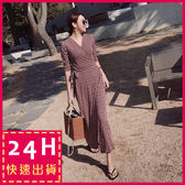 梨卡★現貨 - 韓版氣質優雅度假性感印花綁帶縮腰連身裙連身長裙沙灘裙洋裝C6210
