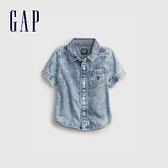 Gap嬰兒 純棉復古翻領牛仔襯衫 699086-淺色水洗