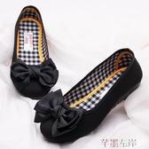 豆豆鞋老北京布鞋女時尚款軟底上班平底工作鞋黑色豆豆鞋單鞋夏 芊墨左岸