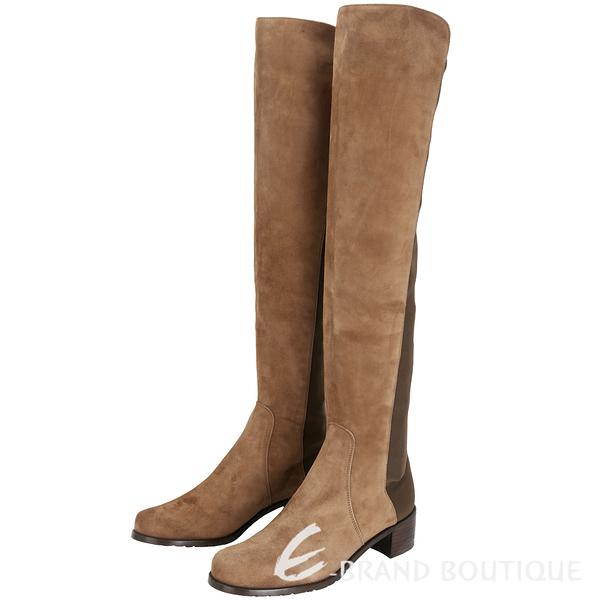 Stuart Weitzman RESERVE 麂皮拼接過膝長靴(棕色) 1530379-B3