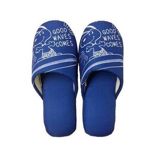 小禮堂 史努比 室內拖鞋 保暖拖鞋 成人拖鞋 棉質 半包式 (藍 衝浪) 4973422-67253