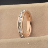 玫瑰金鑲鑽純銀戒指-超閃長方鑽精美生日母親節禮物女飾品71am47【巴黎精品】