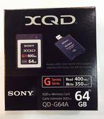 【贈SONY原廠 XQD 讀卡機】SONY 64GB XQD QD-G64A 400MB/s【台灣索尼公司貨】( 非 440MB/s QD-G64E )