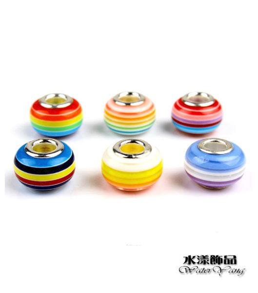 彩虹珠子 可愛珠 潘朵拉風DIY串珠手鍊配件