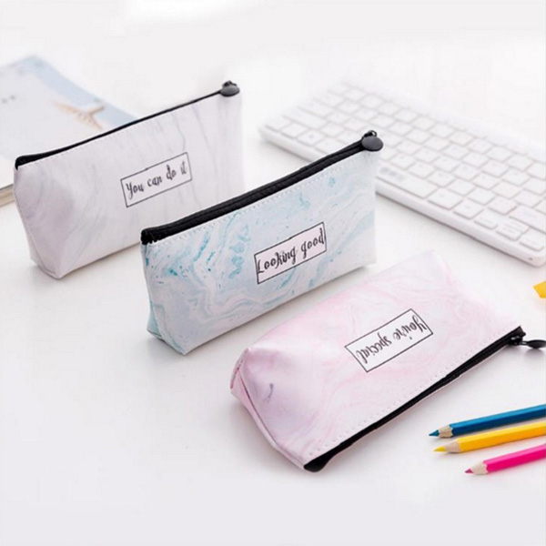 【BlueCat】草寫英文大理石紋帆布拉鍊筆袋 鉛筆盒