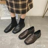 樂福鞋-方頭復古小皮鞋女秋季新款韓版百搭低粗跟懶人樂福鞋 提拉米蘇