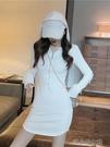 長袖修身洋裝 早春款港味chic設計感長袖修身連帽袖子割破純色針織衛衣連衣裙女 快速出貨