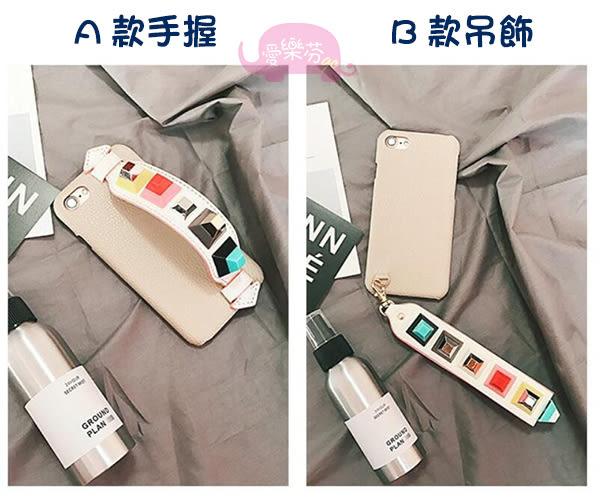 Apple iPhone6/6s 4.7吋 Plus 5.5吋 皮紋背蓋 彩色鉚釘手機殼 立體手繩保護套 個性手機套 吊飾保護殼