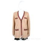 TORY BURCH Madeline 美麗諾羊毛駝色開襟針織衫 外套 2040382-B3