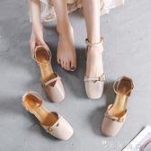 小皮鞋女復古奶奶鞋chic單鞋子包頭粗跟女鞋  薔薇時尚