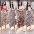 寧莎夏季新款韓版時尚百搭小碎花半身裙荷葉邊收腰顯瘦中長裙  一米陽光