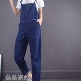 牛仔吊帶褲 夏季韓版寬鬆連體褲吊帶褲牛仔背帶褲女九分褲 實拍 薇薇