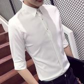 夏季修身男士短袖襯衣商務襯衫潮薄款正韓白發型師男裝七分袖襯衫【全館89折低價促銷】