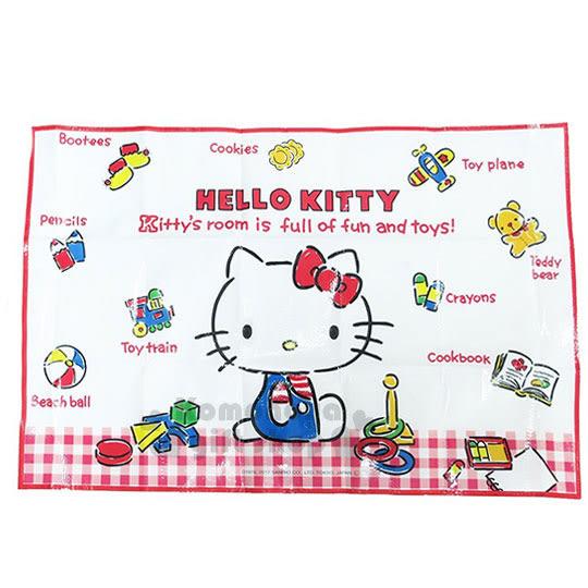 〔小禮堂〕Hello Kitty 野餐墊《S.紅白格.經典藍吊帶褲.小熊.玩具.90x60cm》單人用尺寸設計 4973307-40166